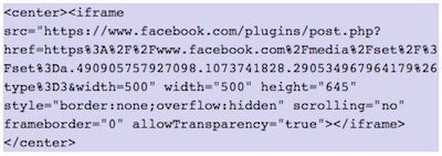 How to show FaceBook elements in WordPress | images gallery