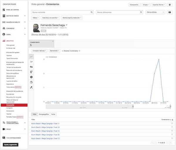 Youtube Creator Studio | Video Manager - Analytics - Comments