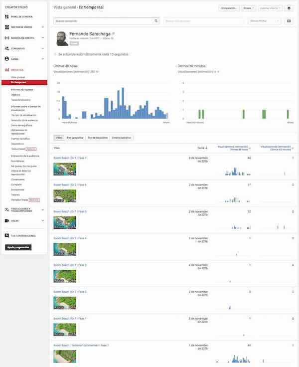 youtube creator studio analytics en tiempo real