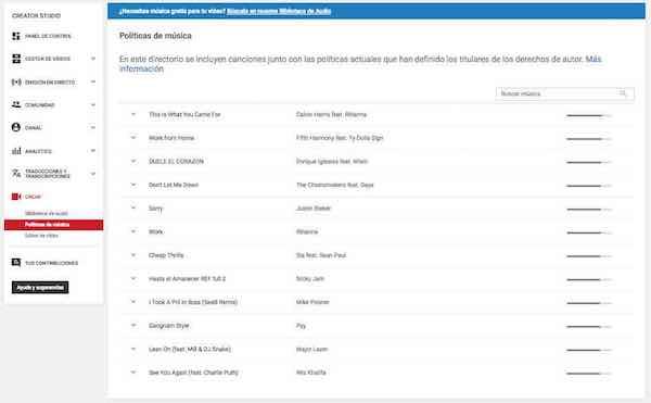 Youtube Creator Studio   Video Manager - Analytics - Music Policies