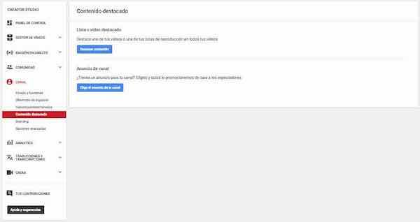 youtube creator studio canal contenido destacado