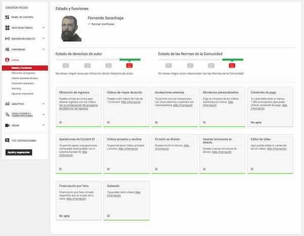 youtube creator studio canal estado y funciones