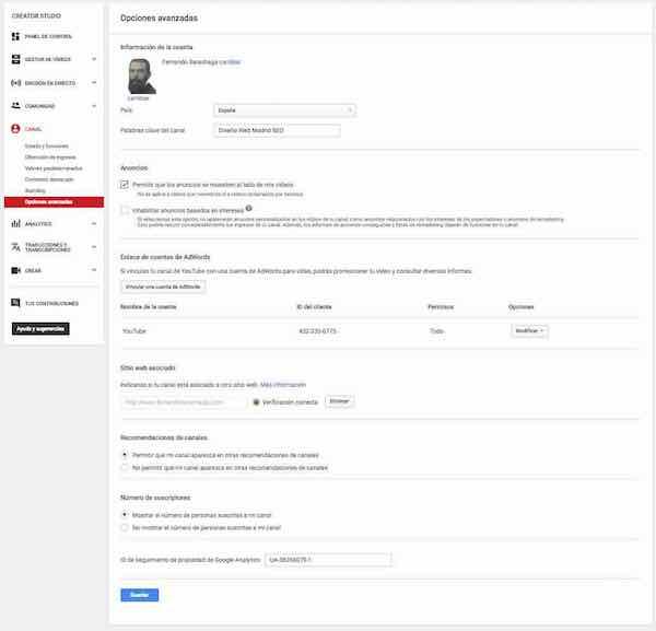youtube creator studio canal opciones avanzadas