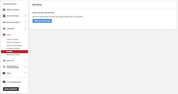 Youtube Creator Studio   Video Manager - Studio Channel - Branding