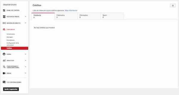 youtube creator studio comunidad creditos
