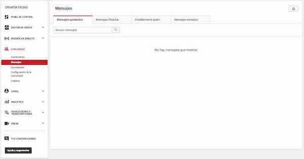 youtube creator studio comunidad mensajes