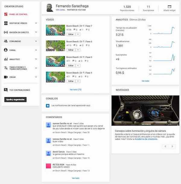 Youtube Creator Studio   Control Panel