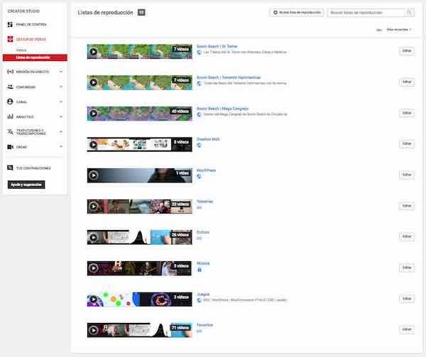 youtube creator studio gestor de videos listas de reproduccion
